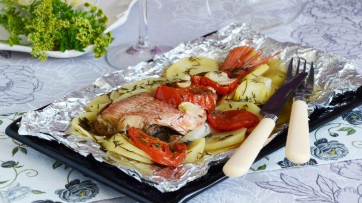 рыба с овощами в духовке рецепты с фото пошагово